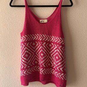 Hollister Knit Aztec Tank Top Pink and White